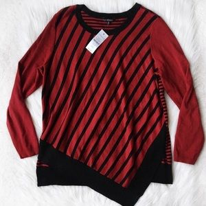 Hannah Striped Layered Crew Neck Sweater Red Black